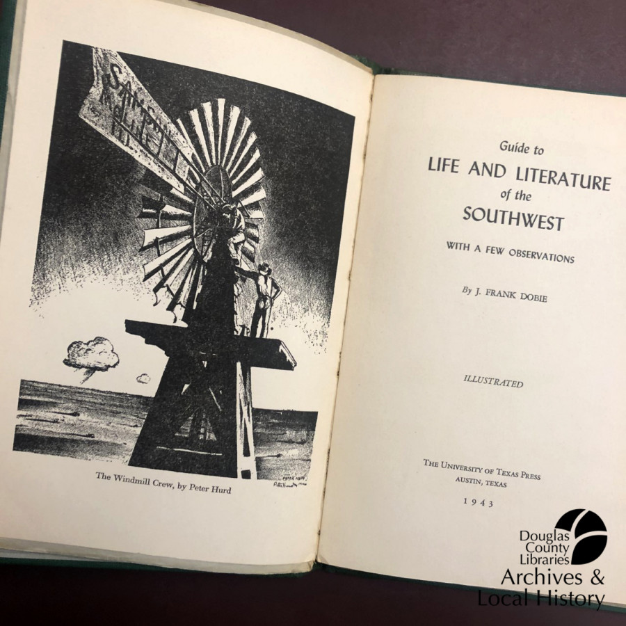 Images show the title page and copyright page of Guide to Life and Literature of the Southwest, including an illustration of a windmill on the left page. The copyright page says that the contents are free to use by anyone for any reason, winning it the Archive Award for friendliest book.