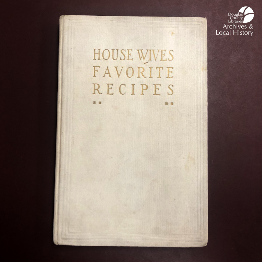 "Images show a book cover titled ""Housewives Favorite Recipes"" and a page from the book with a recipe for Fish in Jelly and Ham Mousse."